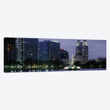 Fountain in a lake lit up at night, Lake Eola, Summerlin Park, Orlando, Orange County, Florida, USA #2 Canvas Print #PIM3065} by Panoramic Images Canvas Print