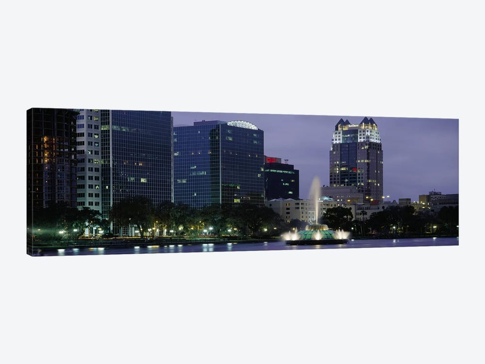 Fountain in a lake lit up at night, Lake Eola, Summerlin Park, Orlando, Orange County, Florida, USA #2 by Panoramic Images 1-piece Canvas Art Print