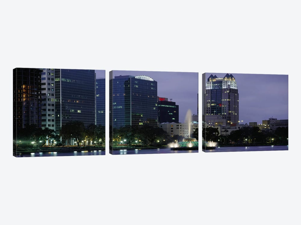 Fountain in a lake lit up at night, Lake Eola, Summerlin Park, Orlando, Orange County, Florida, USA #2 by Panoramic Images 3-piece Canvas Art Print