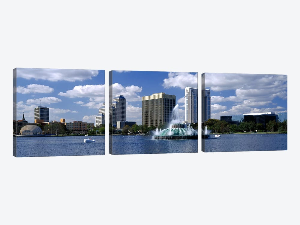Buildings at the waterfront, Lake Eola, Orlando, Florida, USA by Panoramic Images 3-piece Canvas Wall Art
