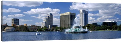 Buildings at the waterfront, Lake Eola, Orlando, Florida, USA Canvas Art Print