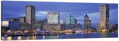 Panoramic View Of An Urban Skyline At Twilight, Baltimore, Maryland, USA Canvas Art Print