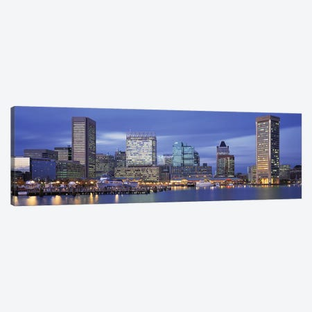 Panoramic View Of An Urban Skyline At Twilight, Baltimore, Maryland, USA Canvas Print #PIM3073} by Panoramic Images Canvas Art Print
