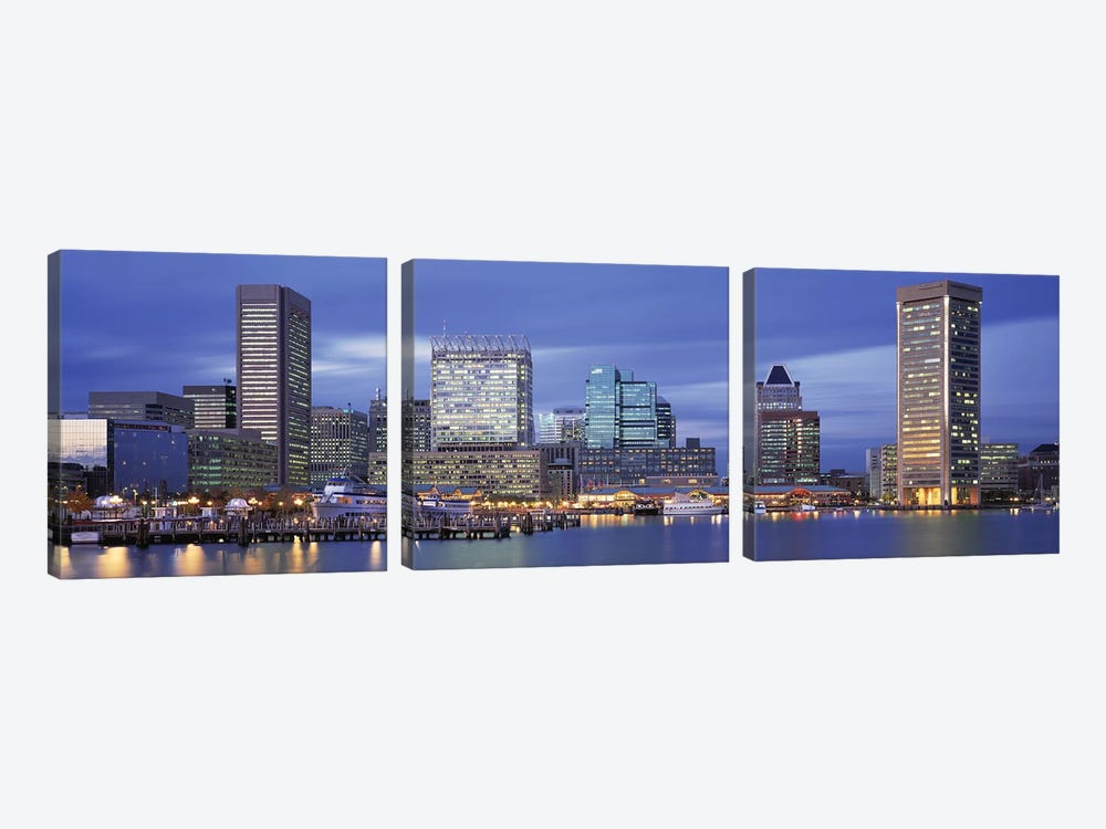 Panoramic View Of An Urban Skyline At Twilight, Baltimore, Maryland, USA 3-piece Canvas Art
