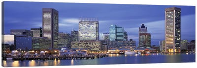 Panoramic View Of An Urban Skyline At Twilight, Baltimore, Maryland, USA Canvas Art Print