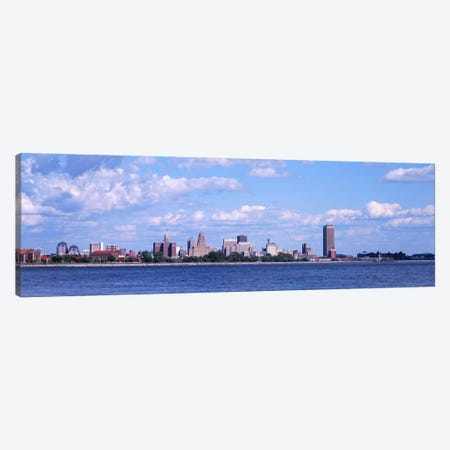 Buildings at the waterfront, Buffalo, Niagara River, Erie County, New York State, USA Canvas Print #PIM3075} by Panoramic Images Canvas Wall Art