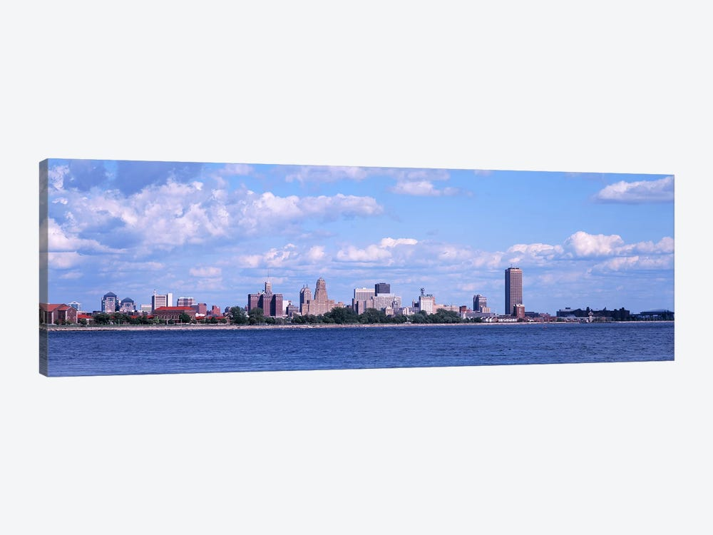 Buildings at the waterfront, Buffalo, Niagara River, Erie County, New York State, USA by Panoramic Images 1-piece Canvas Wall Art