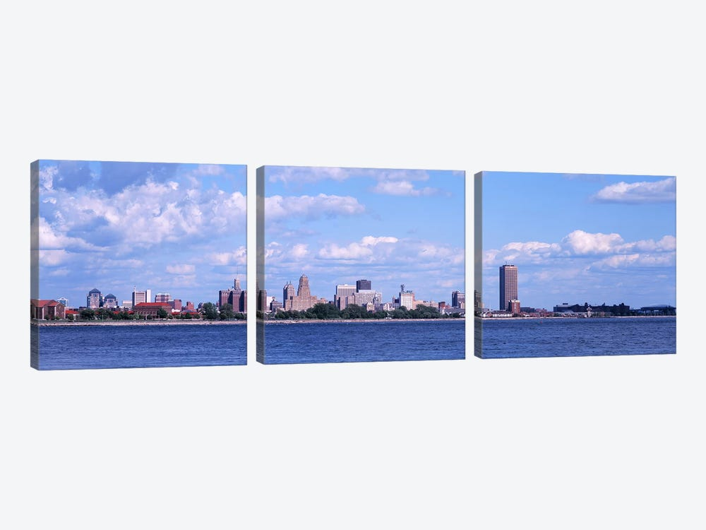 Buildings at the waterfront, Buffalo, Niagara River, Erie County, New York State, USA by Panoramic Images 3-piece Canvas Artwork