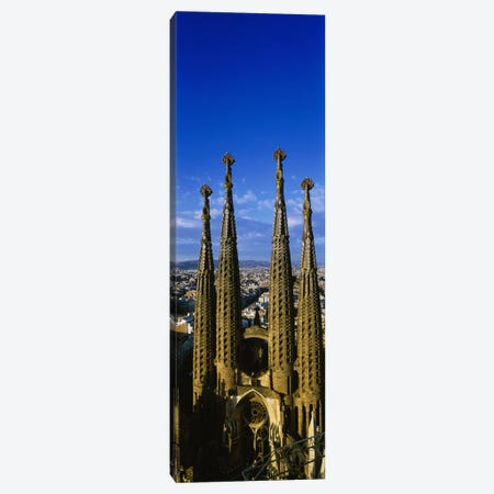 High Section View Of Towers Of A Basilica, Sagrada Familia, Barcelona, Catalonia, Spain Canvas Print #PIM3076} by Panoramic Images Canvas Artwork