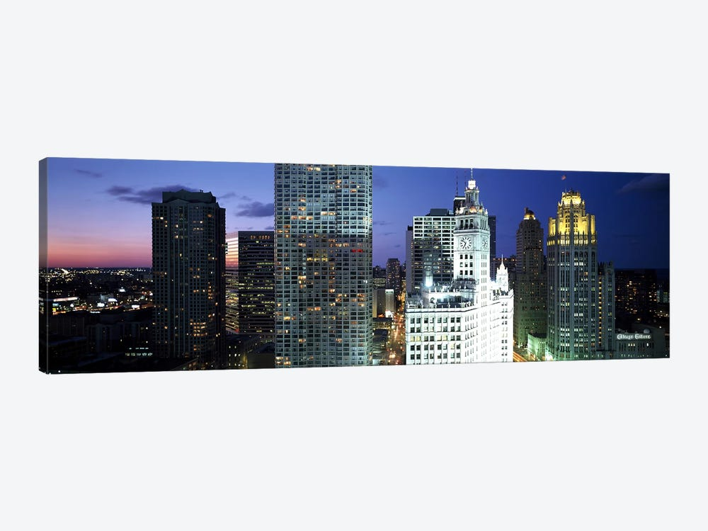 Skyscraper lit up at night in a city, Chicago, Illinois, USA by Panoramic Images 1-piece Canvas Artwork