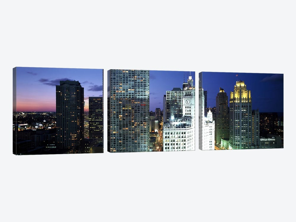 Skyscraper lit up at night in a city, Chicago, Illinois, USA by Panoramic Images 3-piece Canvas Art