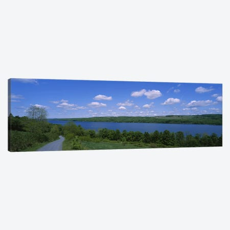 Road near a lake, Owasco Lake, Finger Lakes Region, New York State, USA Canvas Print #PIM3080} by Panoramic Images Canvas Art