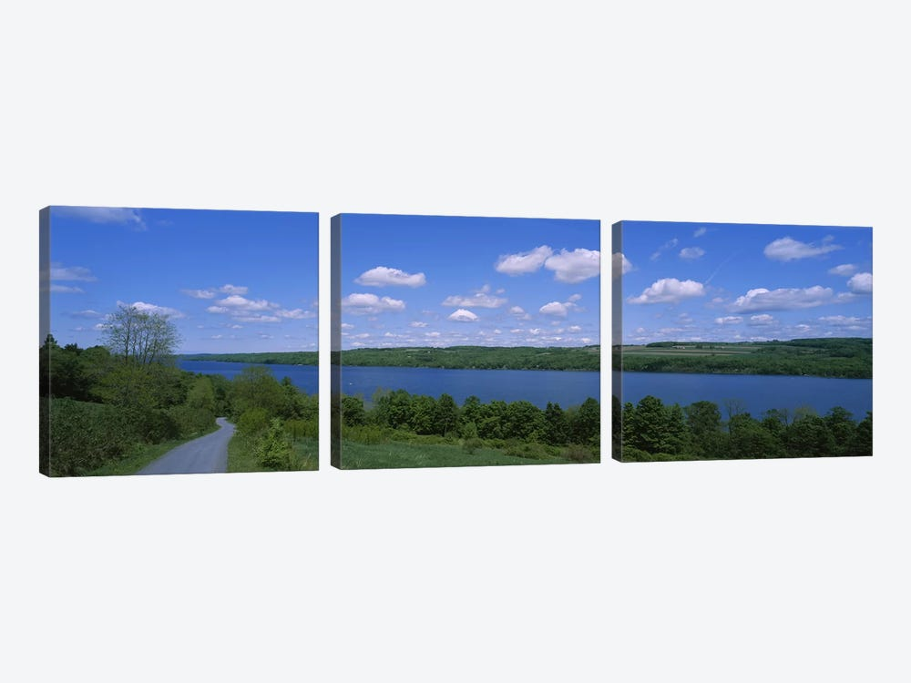 Road near a lake, Owasco Lake, Finger Lakes Region, New York State, USA by Panoramic Images 3-piece Canvas Wall Art