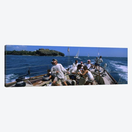 Group of people racing in a sailboatGrenada Canvas Print #PIM3084} by Panoramic Images Canvas Art Print