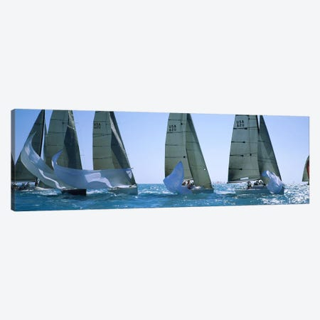 Sailboat racing in the oceanKey West, Florida, USA 3-Piece Canvas #PIM3085} by Panoramic Images Art Print