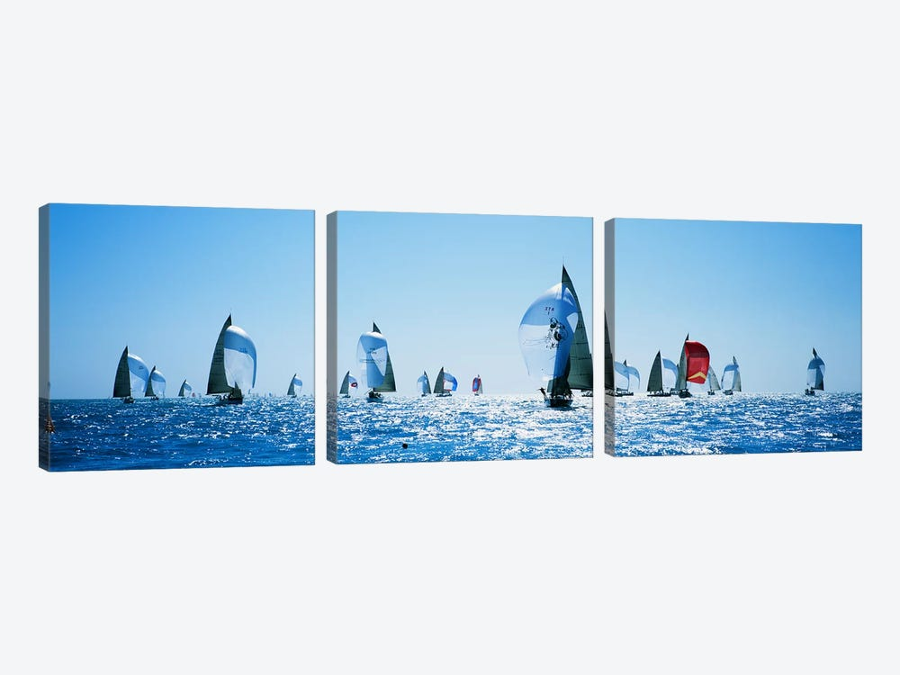 Sailboat Race, Key West, Florida, USA by Panoramic Images 3-piece Canvas Artwork