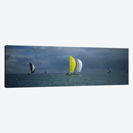 Sailboat racing in the oceanKey West, Florida, USA Canvas Print #PIM3087} by Panoramic Images Canvas Print