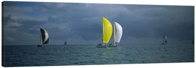 Sailboat racing in the oceanKey West, Florida, USA Canvas Art Print