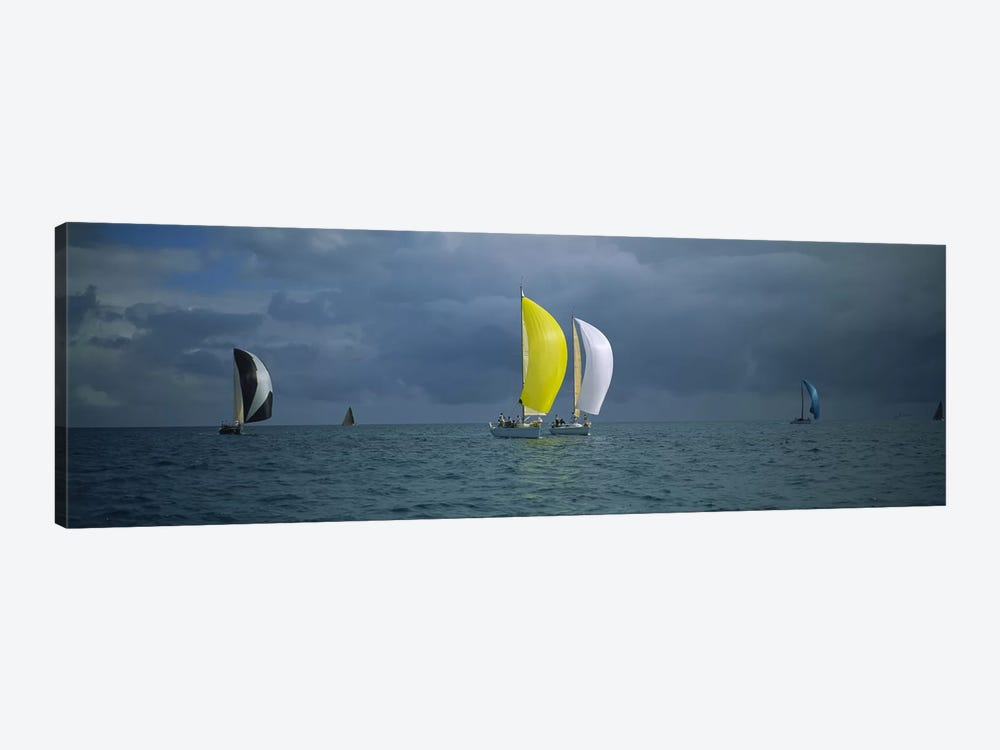 Sailboat racing in the oceanKey West, Florida, USA by Panoramic Images 1-piece Canvas Art Print