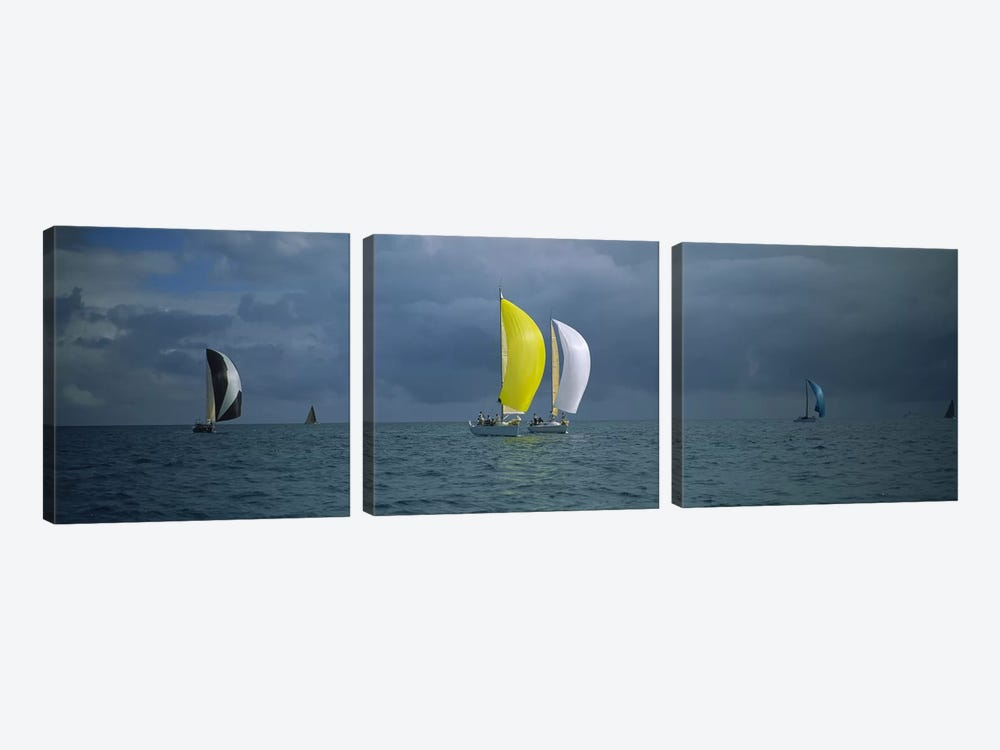 Sailboat racing in the oceanKey West, Florida, USA by Panoramic Images 3-piece Canvas Print