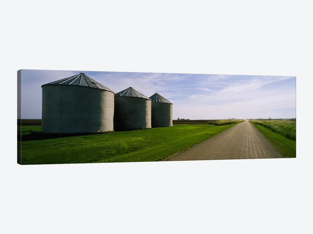 Three silos in a field by Panoramic Images 1-piece Canvas Wall Art