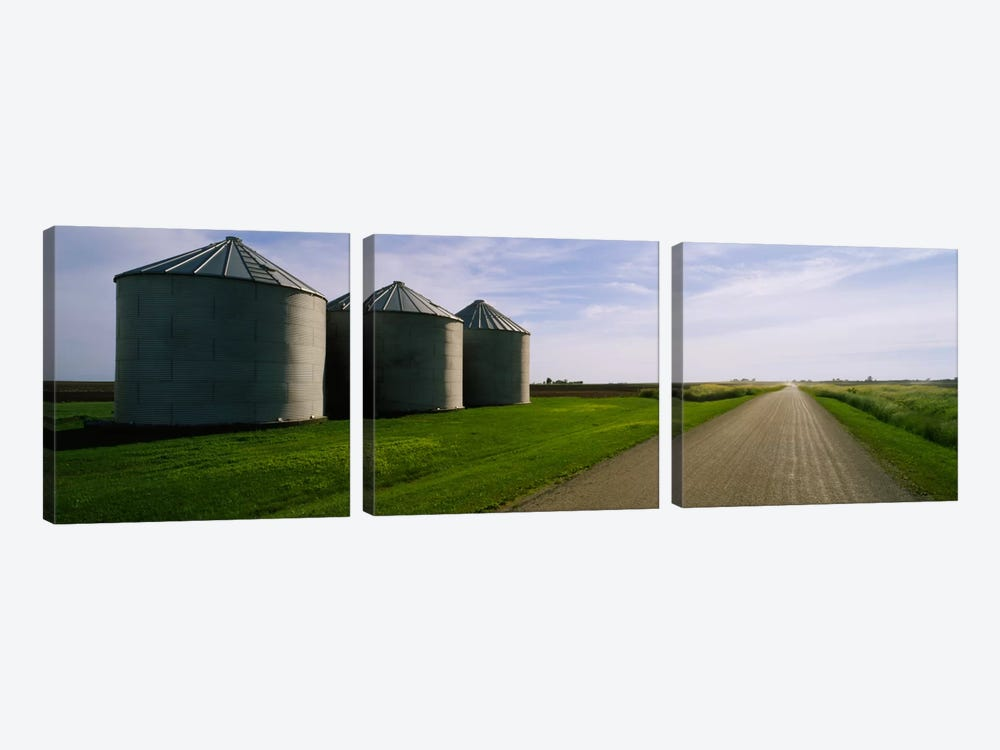 Three silos in a field by Panoramic Images 3-piece Canvas Wall Art