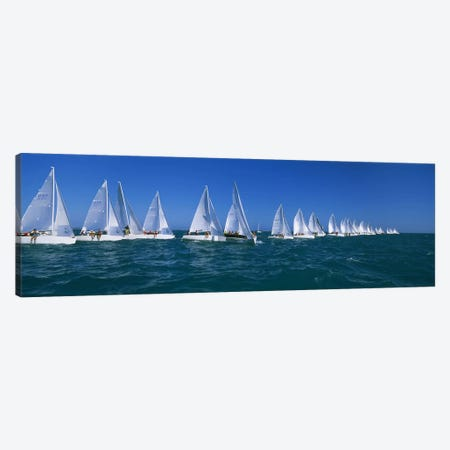 Sailboat racing in the oceanKey West, Florida, USA Canvas Print #PIM3095} by Panoramic Images Canvas Wall Art
