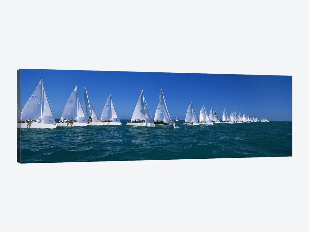 Sailboat racing in the oceanKey West, Florida, USA 1-piece Canvas Wall Art