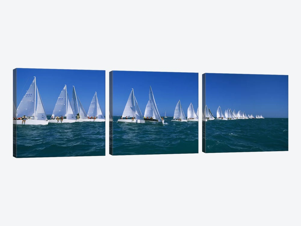 Sailboat racing in the oceanKey West, Florida, USA 3-piece Canvas Artwork