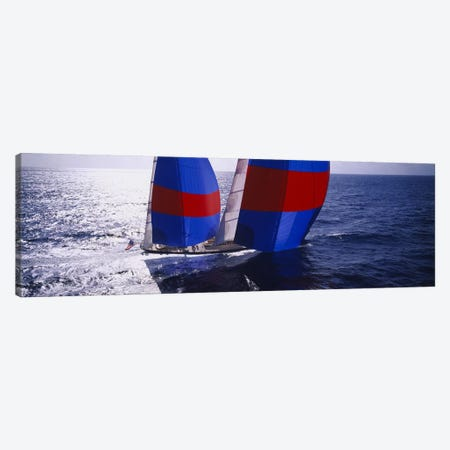 High angle view of a yacht in the seaCaribbean Canvas Print #PIM3099} by Panoramic Images Canvas Art Print