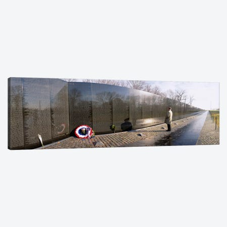 Side profile of a person standing in front of a war memorial, Vietnam Veterans Memorial, Washington DC, USA Canvas Print #PIM309} by Panoramic Images Canvas Print
