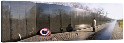 Side profile of a person standing in front of a war memorial, Vietnam Veterans Memorial, Washington DC, USA Canvas Print #PIM309