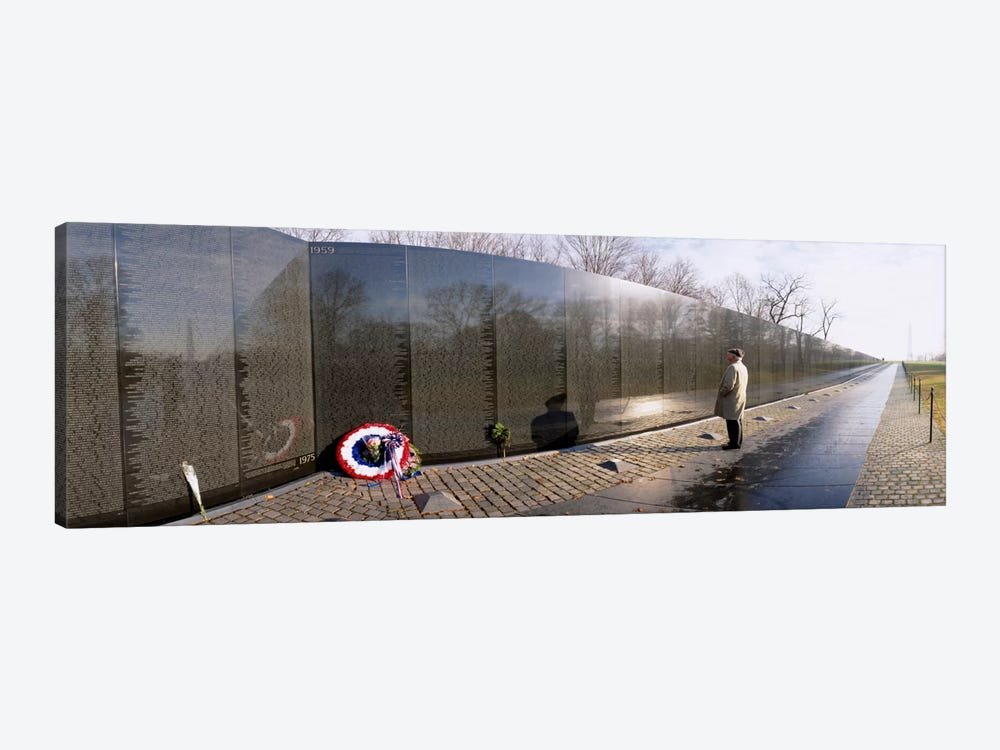 Side profile of a person standing in front of a war memorial, Vietnam Veterans Memorial, Washington DC, USA by Panoramic Images 1-piece Canvas Art Print