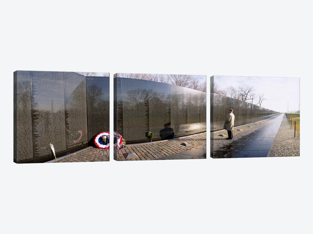 Side profile of a person standing in front of a war memorial, Vietnam Veterans Memorial, Washington DC, USA by Panoramic Images 3-piece Art Print