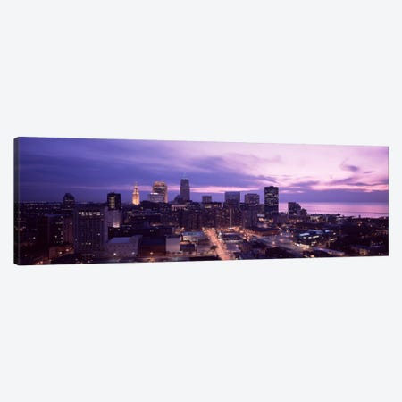 Buildings lit up at night in a cityCleveland, Cuyahoga County, Ohio, USA Canvas Print #PIM30} by Panoramic Images Canvas Print