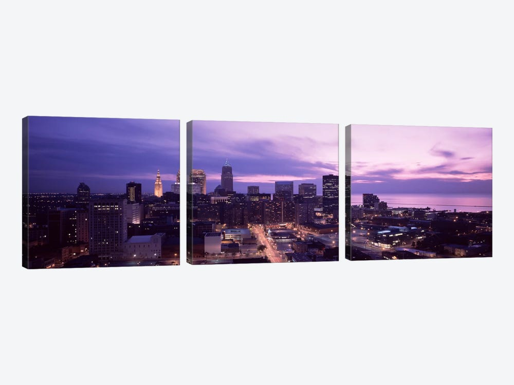 Buildings lit up at night in a cityCleveland, Cuyahoga County, Ohio, USA by Panoramic Images 3-piece Art Print