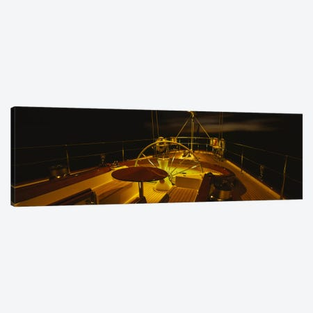Illuminated Luxury Yacht Cockpit At Night Canvas Print #PIM3100} by Panoramic Images Canvas Print