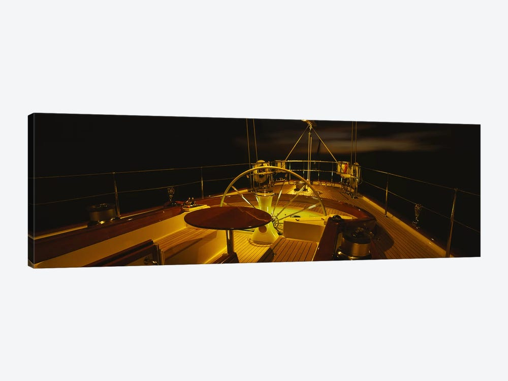 Illuminated Luxury Yacht Cockpit At Night by Panoramic Images 1-piece Art Print