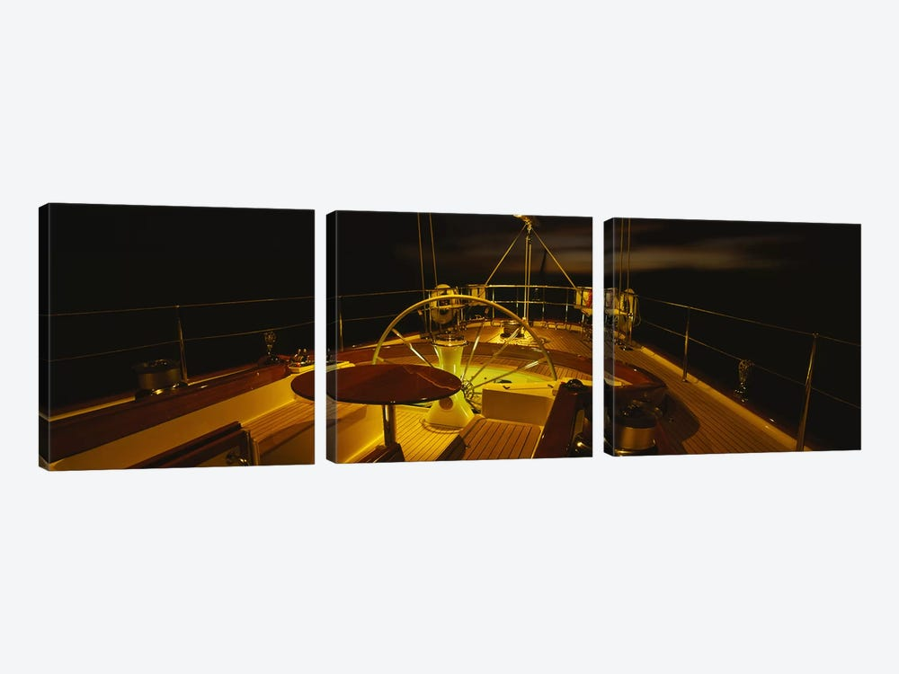 Illuminated Luxury Yacht Cockpit At Night by Panoramic Images 3-piece Canvas Print