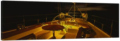 Illuminated Luxury Yacht Cockpit At Night Canvas Art Print