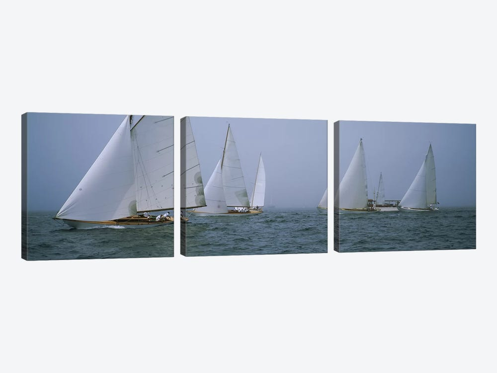 Sailboats at regattaNewport, Rhode Island, USA by Panoramic Images 3-piece Art Print
