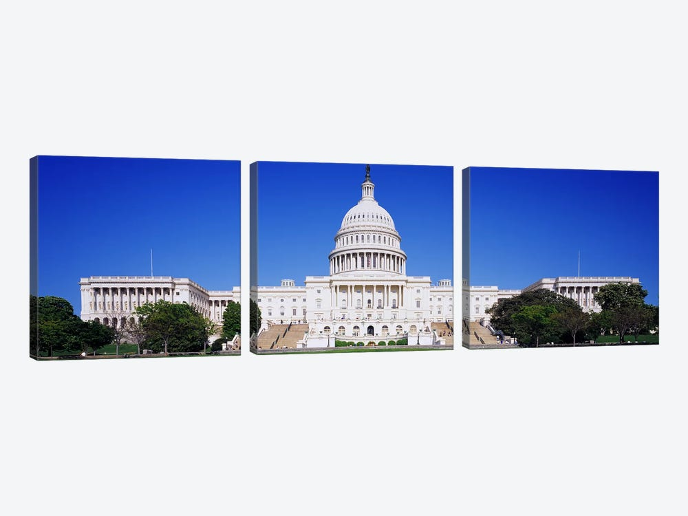 Facade of a government building, Capitol Building, Capitol Hill, Washington DC, USA by Panoramic Images 3-piece Canvas Art Print