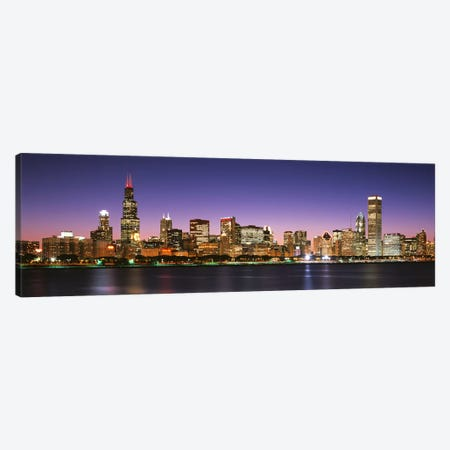 Skyscrapers lit up at night at the waterfront, Lake Michigan, Chicago, Cook County, Illinois, USA Canvas Print #PIM3127} by Panoramic Images Canvas Artwork