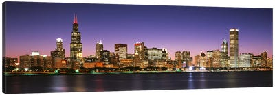 Skyscrapers lit up at night at the waterfront, Lake Michigan, Chicago, Cook County, Illinois, USA Canvas Art Print