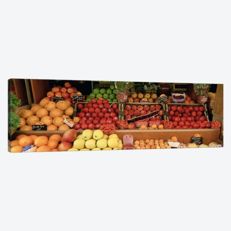 Close-Up Of Fruits In A Street Market, Rue de Levis, Paris, France Canvas Print #PIM3137} by Panoramic Images Canvas Art Print