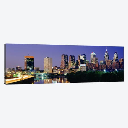US, Pennsylvania, Philadelphia skyline, night Canvas Print #PIM3144} by Panoramic Images Canvas Wall Art