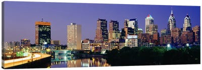 US, Pennsylvania, Philadelphia skyline, night Canvas Art Print