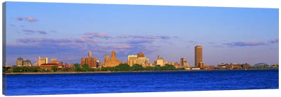 Buildings at the waterfront, Buffalo, Niagara River, Erie County, New York State, USA #2 Canvas Art Print