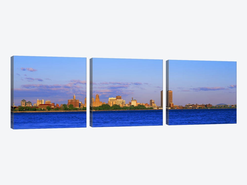 Buildings at the waterfront, Buffalo, Niagara River, Erie County, New York State, USA #2 by Panoramic Images 3-piece Canvas Art