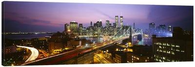 Buildings lit up at night, World Trade Center, Manhattan, New York City, New York State, USA Canvas Print #PIM3152
